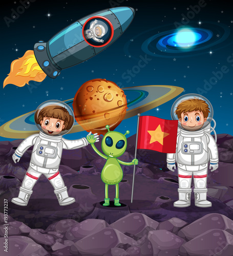 Deurstickers Kids Space theme with two astronauts and alien with flag