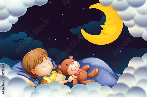 Deurstickers Kids Little girl sleeping with teddybear at night time