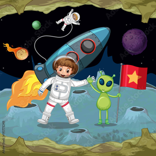 Deurstickers Kids Astronauts and alien holding hands in space