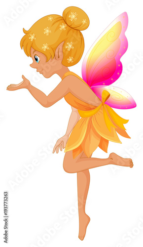 Deurstickers Kids Cute fairy in yellow dress