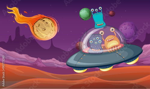 Deurstickers Kids Space theme with aliens in UFO landing on planet