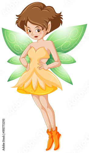 Aluminium Kids Fairy in yellow costume and green wings