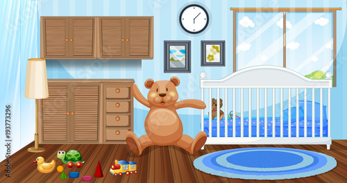 Deurstickers Kids Bedroom scene with white babycot and dolls