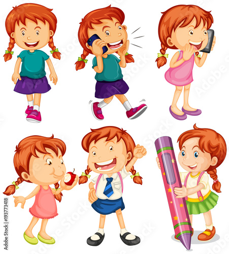 Deurstickers Kids Girl in six different actions