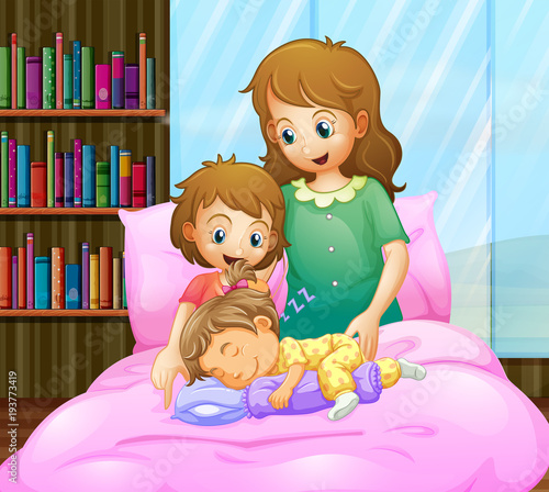 Deurstickers Kids Mother and two girls in bed