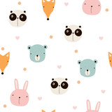 Seamless pattern with cute animals. Vector hand drawn illustration. - 193785033