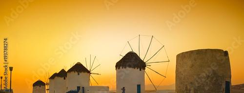 Foto op Canvas Oranje Mykonos Island Famous Windmills