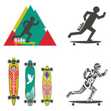 Vector set of labels and logos with longboards. Silhouette of man ride on longboard. Different shapes of decks - 193788823