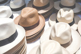 Handmade Panama Hats at the traditional outdoor market. Popular souvenir from Central America.