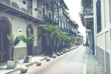 Colorful vintage image of streets of old city in Panama City, Panama.