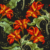 Embroidery flowers lily seamless pattern. Classical embroidery red lilies pattern, template fashionable clothes, t-shirt design, print vector - 193796016