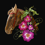 Embroidery horse head and wild flowers. Fashionable template tapestry flowers renaissance. Classic style embroidery, horse and beautiful flowers vector - 193796460
