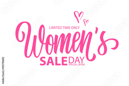 Women's Day Sale special offer banner with hand drawn lettering for holiday shopping. Limited time only. Vector illustration.