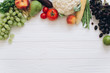 A banner of vegetables and fruits on a wooden white table, flat lay and top view. - 193799493