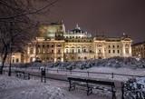 Krakow, Poland, night winter view of city theater