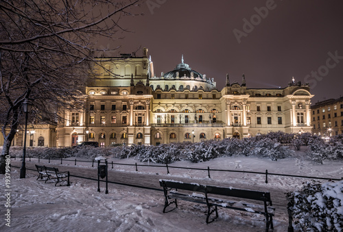 Krakow, Poland, night winter view of city theater