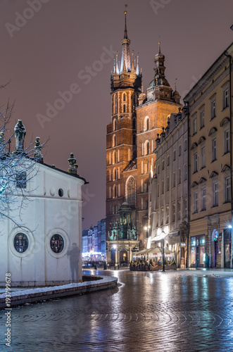 Krakow, Poland, St Mary's church on the Main Market Square © tomeyk