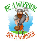 Viking illustration in cartoon doodle technique with quote. - 193804052