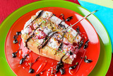 Piece of cake with mixed fruits and tasty decoration - 193807692