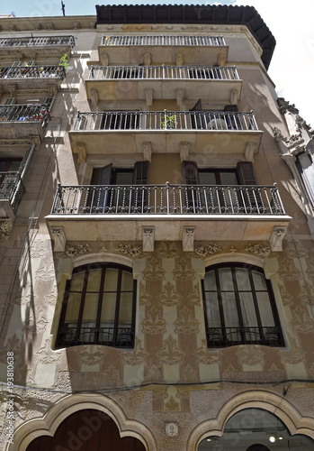 Foto op Canvas Barcelona Barcelona, decorated facade in old town