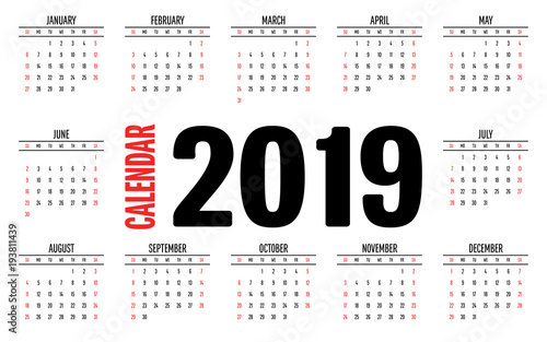 2019 Calendar Simple Clear Design Template Vector Illustration Week Start from Sunday