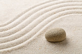 Zen sand and stone garden with raked curved lines. Simplicity, concentration or calmness abstract concept - 193814857