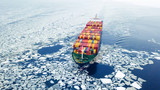 Aerial view of container ship in the sea at winter time - 193818287