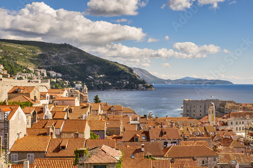 Fototapeta Dubrovnik old city and old town pier view. Red roofs. Croatia