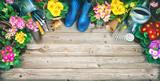 Frühling, Garten, Gartenarbeit, Gartenwerkzeug, Blumen, Hintergrund