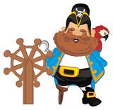 Pirate Robber Illustration Cartoon Hook Icon Wooden Bird Parrot Helm Ship Steering Wheel Wall Sticker