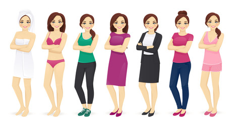 Woman day in different clothes vector illustration set © volha