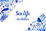 Sealife watercolor hand drawn stylized horizontal invitation with decorative corners