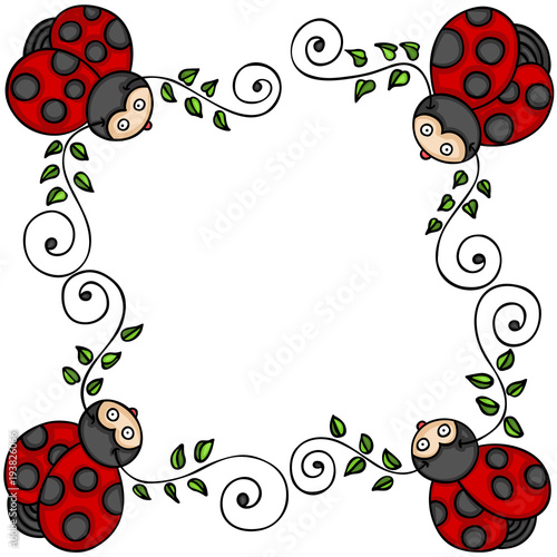 Decorative frame with leaves and ladybugs | Buy Photos | AP Images ...