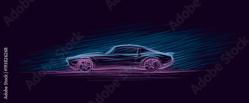 Neon illustration of muscle car. Vector.