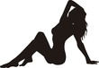 Sexy model posing vector silhouette