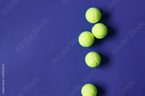 Aluminium Tennis Yellow tennis balls on violet background. Concept sport.