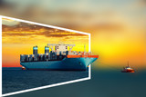 Container ship and tugboat - transport industry concept.