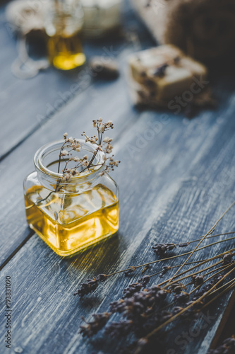 Foto op Canvas Spa Spa composition. Aroma essential oil on rustic wooden background, selective focus