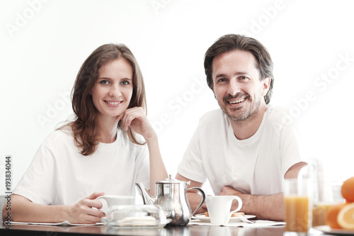 Foto op Canvas Sap Couple having breakfast