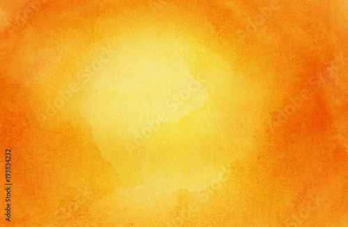Abstract bright orange sun, watercolor background, painted on watercolor paper