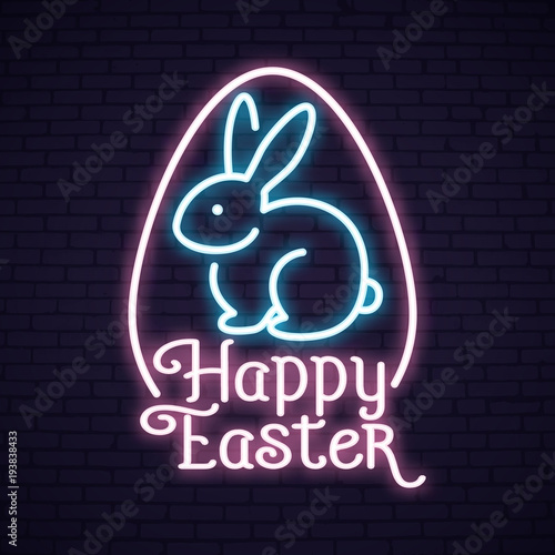 Happy Easter Sunday neon lettering