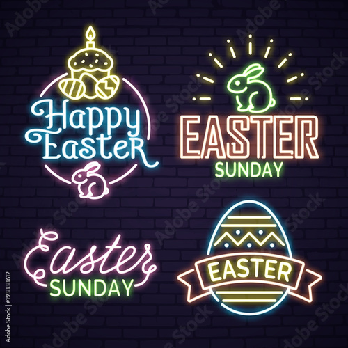 Neon egg with Easter lettering