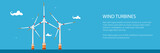 Banner with Offshore Wind Farm ,Horizontal Axis Wind Turbines in the Sea off the Coast, Vector Illustration