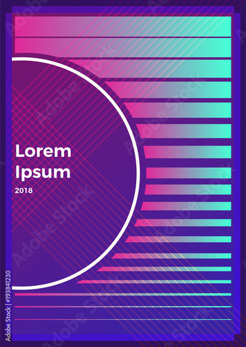 Plexiglas Violet Neon abstract retro backgrounds. With different shapes on poster
