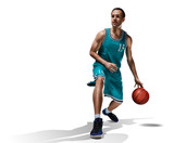 basketball player in action isolated on white - 193845602