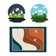 map travel vacations night morning mountains trees vector illustration - 193849891