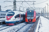 Two modern high-speed trains.