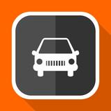 Car vector icon. Flat design square internet gray button on orange background.