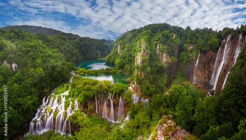 panorama wodospadów Plitwickich