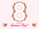 8 March Happy Womens day rose flower banner. Invitation flyer for the International Women`s Day with text 8 March on roses in frame